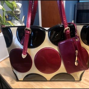Extra large tote black, maroon and tan tote bag